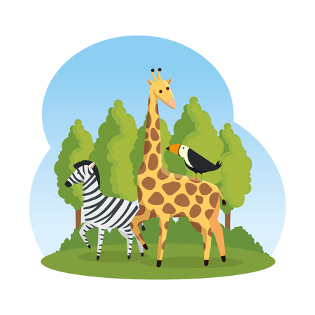 african zebra and giraffe in the savannah vector illustration design