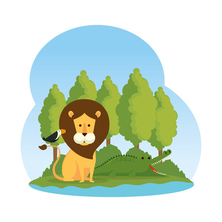 african lion with toucan in the savannah vector illustration design