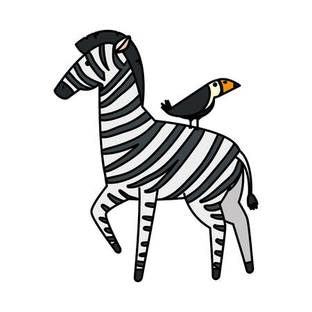 african zebra with toucan wild characters vector illustration design