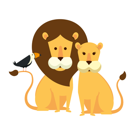 african lions couple with toucan bird vector illustration design