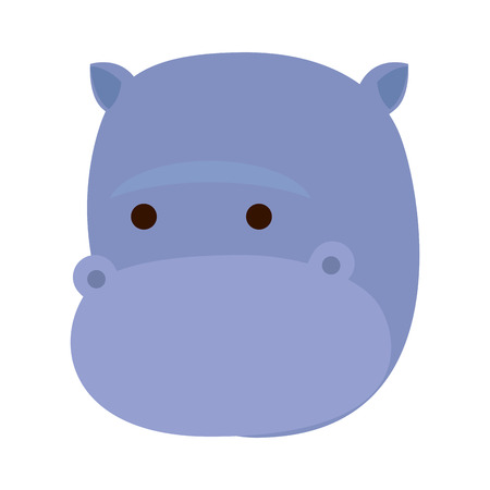 african hippo wild character vector illustration design