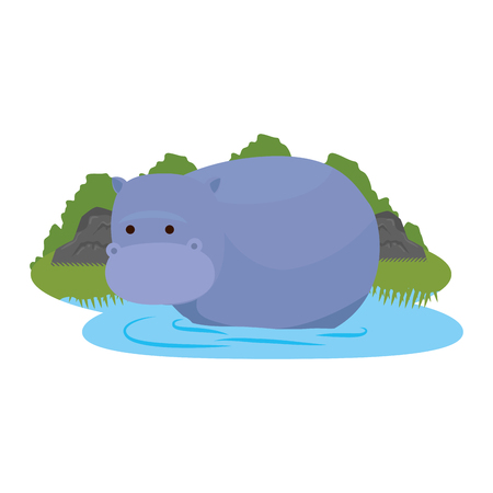african hippo in the savannah character vector illustration design