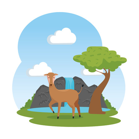 african antelope in the savannah with waterfall vector illustration design