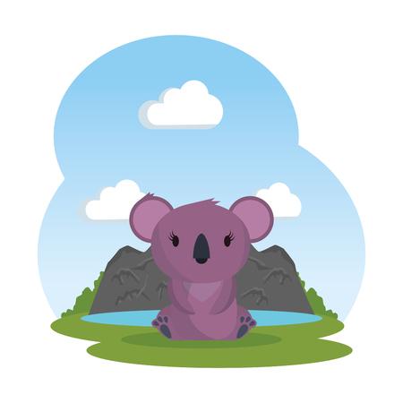 little koala female in the landscape wild character vector illustration design Çizim