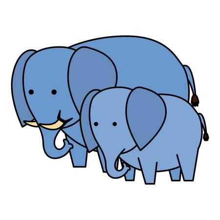 african elephants family wild characters vector illustration design Illustration