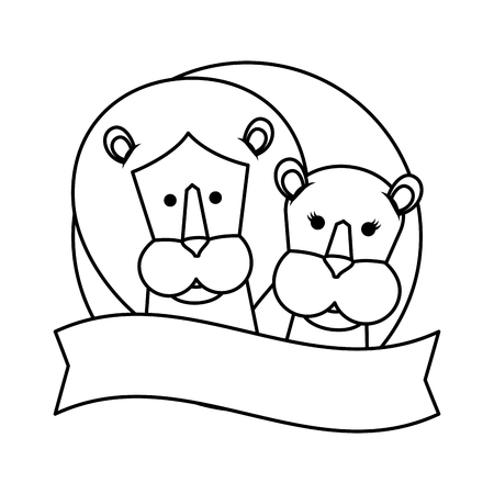 african lions couple characters vector illustration design Illustration