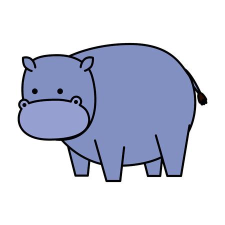 hippopotame africain, caractère sauvage, vecteur, illustration, conception