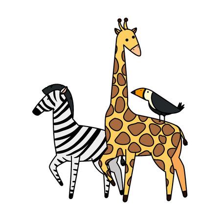 african giraffe and toucan wildlife vector illustration design Ilustração