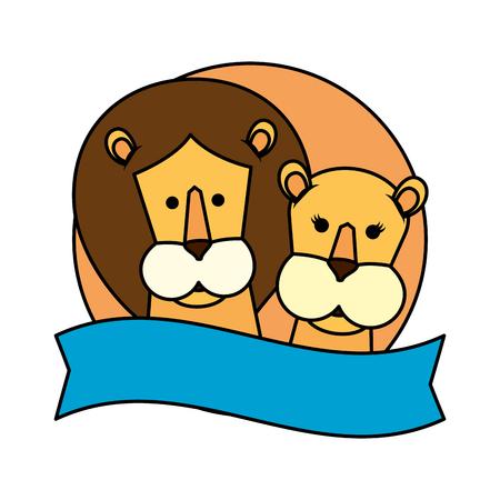 african lions couple characters vector illustration design Foto de archivo - 117336768