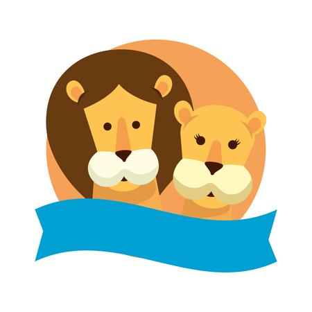 african lions couple characters vector illustration design Stock Illustratie