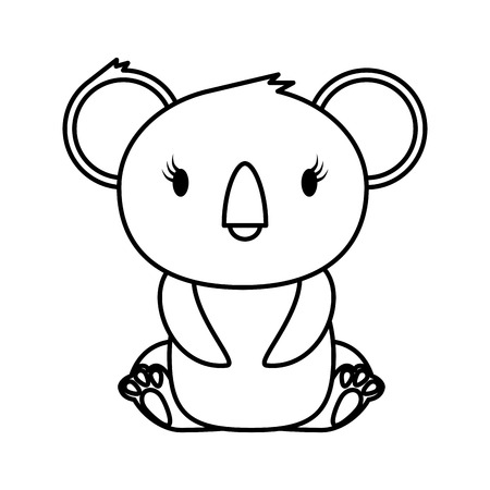 little koala wild character vector illustration design