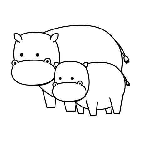 african hippos family wild characters vector illustration design Foto de archivo - 125113533