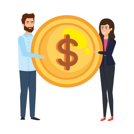 business couple lifting coin money vector illustration design