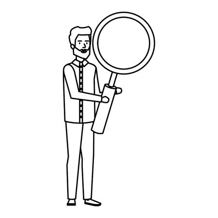 elegant businessman lifting magnifying glass vector illustration design