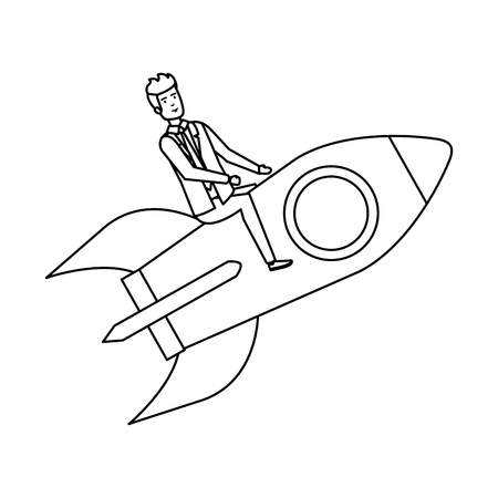 elegant businessman flying in rocket vector illustration design Illustration