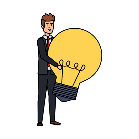 elegant businessman lifting bulb vector illustration design Illustration