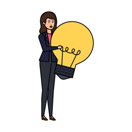 elegant businesswoman lifting bulb vector illustration design Ilustração