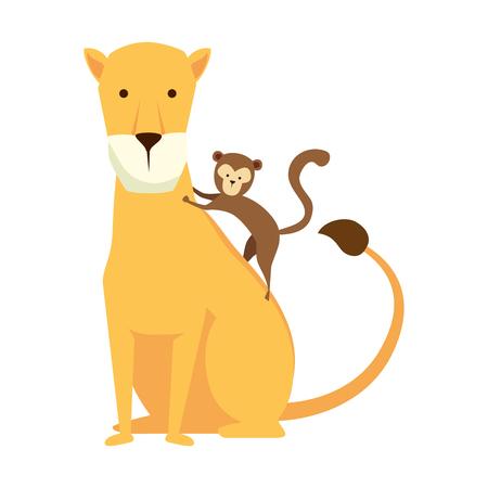 african lioness with monkey vector illustration design Stock Illustratie