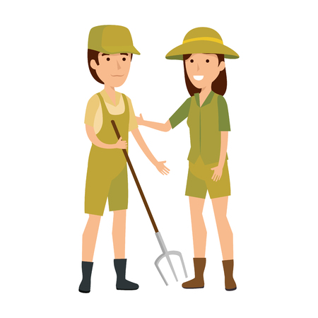 couple of workers zoo characters vector illustration design Çizim