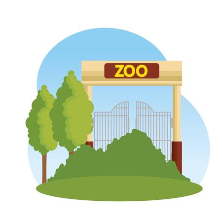 entrance facade of zoo vector illustration design