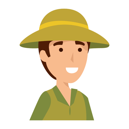 man worker of zoo character vector illustration design