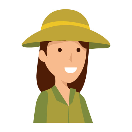 woman worker of zoo character vector illustration design
