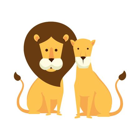 african lions couple characters vector illustration design Foto de archivo - 125113783