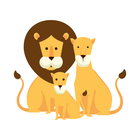 african lions family characters vector illustration design Illustration
