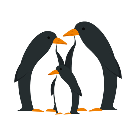 cute penguins birds characters vector illustration design Ilustração