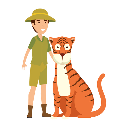 man worker of zoo with tiger vector illustration design