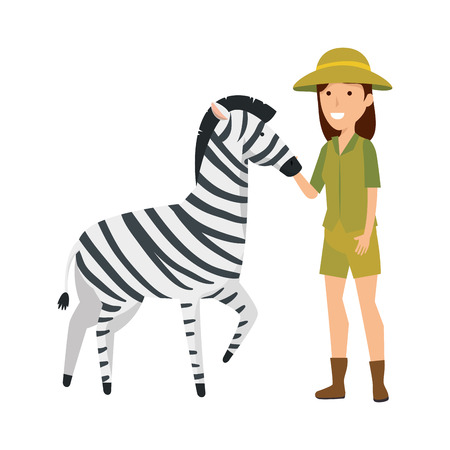 woman worker of zoo with zebra vector illustration design