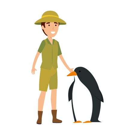 man worker of zoo with penguin vector illustration design Illustration