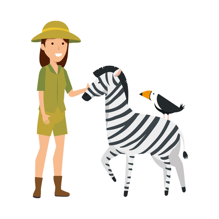 woman worker of zoo with zebra vector illustration design Banque d'images - 117339373