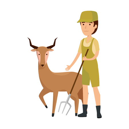 man worker of zoo with antelope vector illustration design Illustration