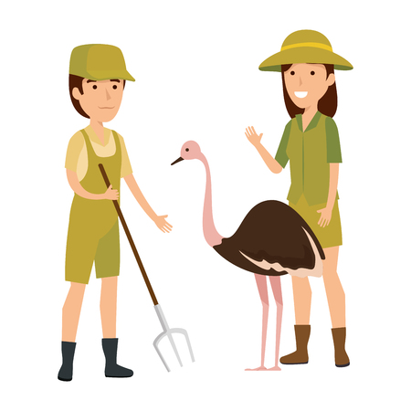 couple of workers zoo with ostrich vector illustration design