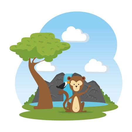 funny monkey in the field character vector illustration design Illusztráció