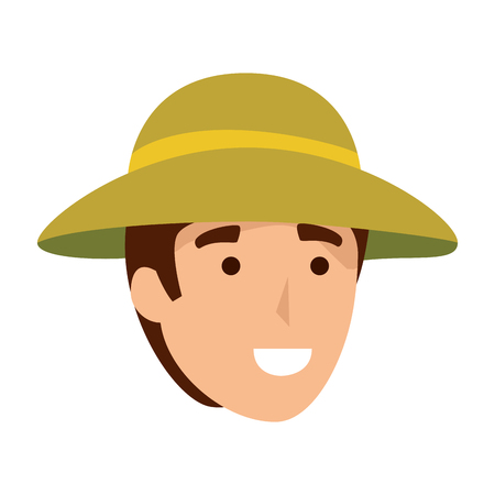 man worker of zoo head character vector illustration design Illustration