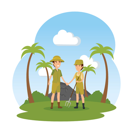 couple of workers zoo in the field characters vector illustration design