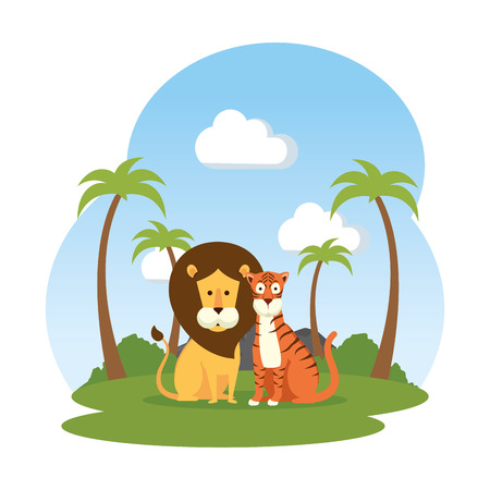 african lion with tiger in the field vector illustration design