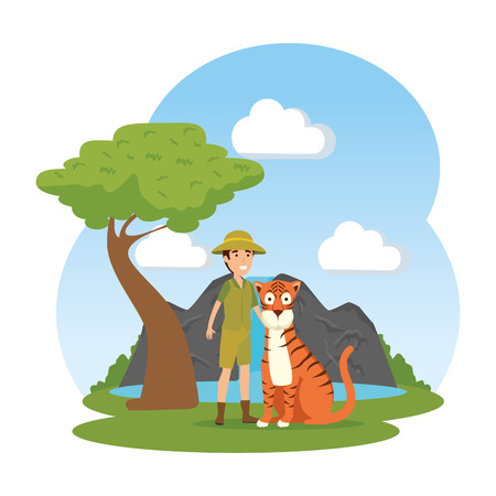 man worker of zoo with tiger in the landscape vector illustration design