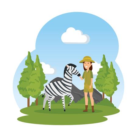 woman worker of zoo character vector illustration design Illusztráció