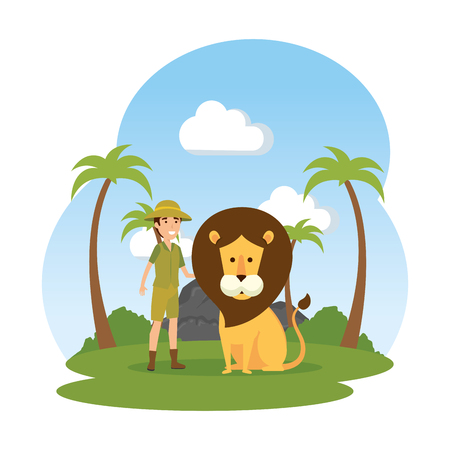 man worker of zoo with lion in the landscape vector illustration design