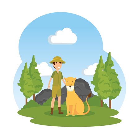 man worker of zoo with lioness in the landscape vector illustration design
