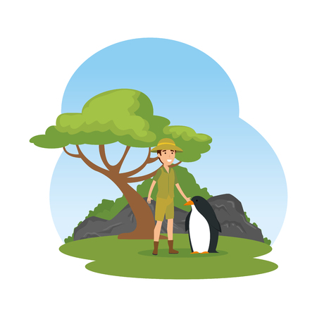 man worker of zoo with penguin in the camp vector illustration design