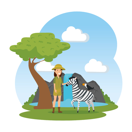 woman worker of zoo character vector illustration design Çizim