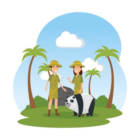 couple of workers zoo with panda in the field vector illustration design