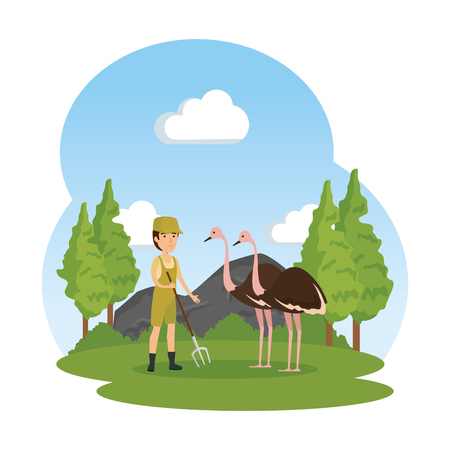 man worker of zoo with ostrich in the field vector illustration design