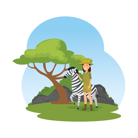 woman worker of zoo with zebra in the camp vector illustration design Ilustrace