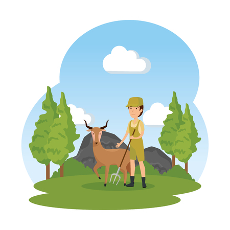 man worker of zoo with antelope in the camp vector illustration design