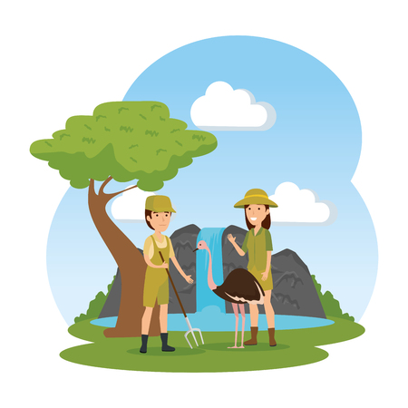 couple of workers zoo with ostrich in the field vector illustration design